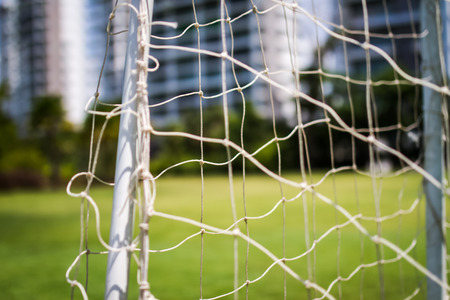 soccer net: close up soccer net in lonely mood Stock Photo