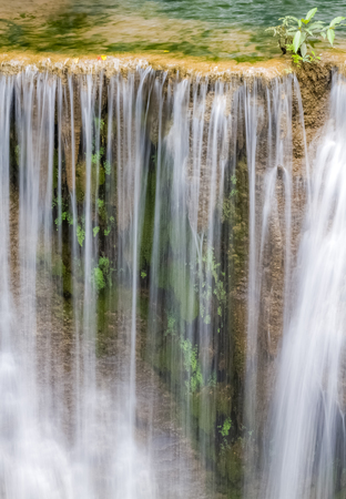 khamin: closeup flow down waterfalls of Huay mae khamin in Thailand