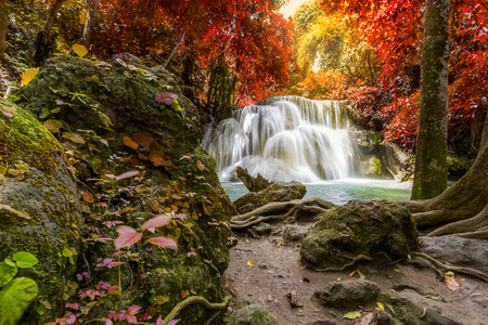 khamin: autumn at waterfalls, Huay mae khamin, Kanchanaburi, Thailand