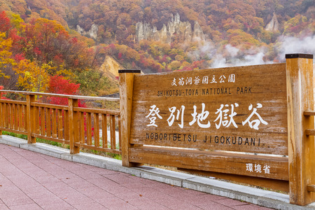 kleurrijke bladeren inzien op Jigokudani hel vallei, Hokkaido, Japan