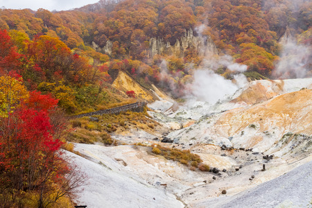colorful leaves view at Jigokudani hell valley, Hokkaido, Japan Standard-Bild