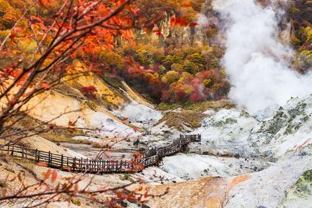 feuilles colorées view at Jigokudani vallée enfer, Hokkaido, Japon