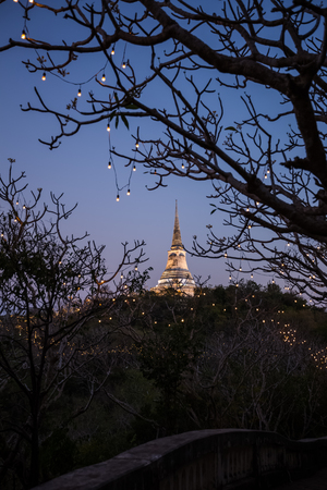 wang: view on Khao Wang historical park in evening Stock Photo