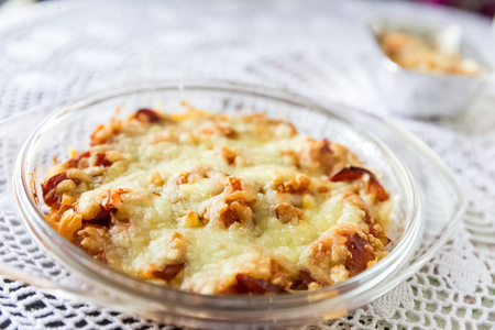 macaroni with cheese: homemade macaroni cheese on glass dish