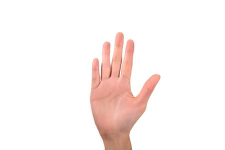 closeup femme main droite soulève avec cinq doigts sur fond blanc