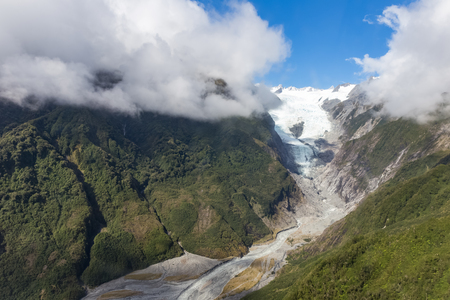 josef: Franz Josef glacier at top view from Helicopter