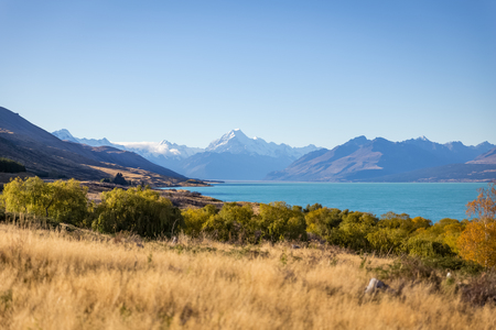 lofty: Mt. Cook and lake Pukaki from Peter lookout view point, New Zealand