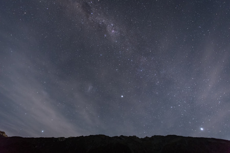 outerspace: night view with mt. cook and stars in the sky at White Horse Hill campground Stock Photo