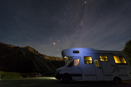campervan: campervan at White Horse campground with night sky background