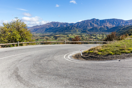 curve road: curve road to arrow town, New Zealand
