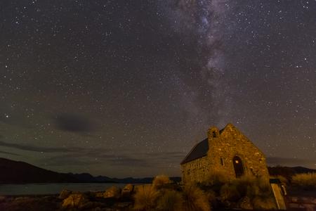 milkyway: milkyway above Church of Good Shepherd, Lake Tekapo, New Zealand