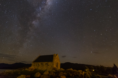 milkyway above Church of Good Shepherd, Lake Tekapo, New Zealand