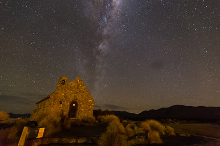 tekapo: milkyway above Church of Good Shepherd, Lake Tekapo, New Zealand