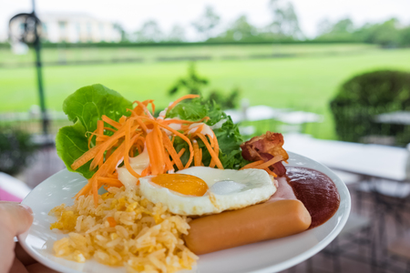 compose: breakfast dish compose of fried egg, fried, rice, ham, sausage, bacon, and salad with tomato sauce with garden view on background Stock Photo