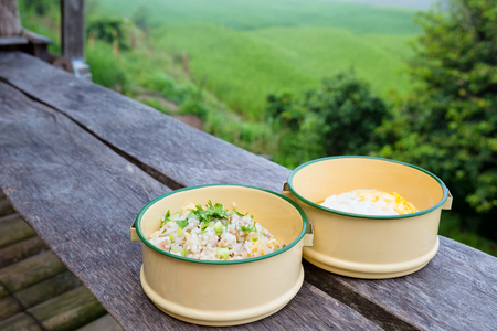 fried rice and fried egg in food carrier on wood balcony of farmhouse among rice field