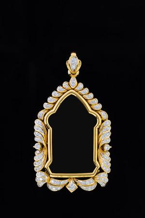 Gold Locket Frame Pendant With Diamond On Black Background Stock ...