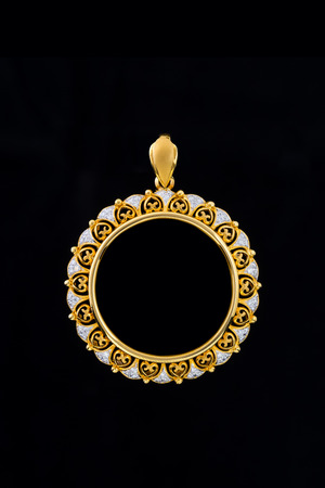 gold locket frame pendant with diamond on black background