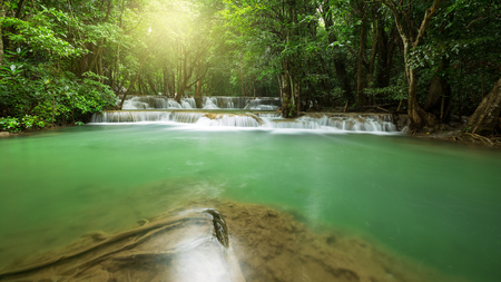 khamin: Huay Mae Khamin waterfall in rainy season, Kanchanaburi, Thailand Stock Photo