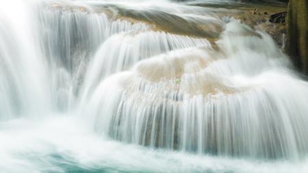 khamin: closeup part of Huay Mae Khamin waterfall in rainy season, Kanchanaburi, Thailand Stock Photo