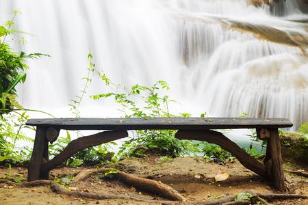 khamin: wood bench at Huay Mae Khamin waterfall, relax corner