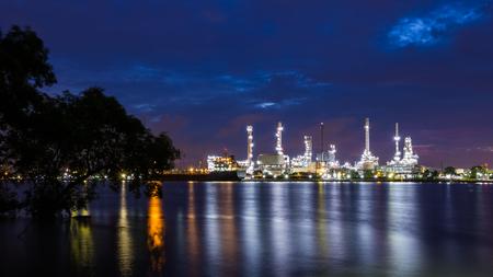 oil refinery plant at dawn in Bangkok, Thailand