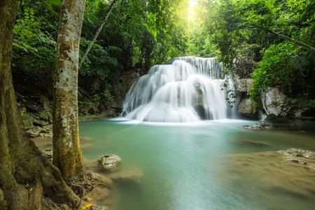 Huay Mae Khamin waterfall in rainy season, Kanchanaburi, Thailand Stock Photo