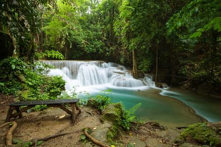 kanchanaburi: Huay Mae Khamin waterfall in rainy season, Kanchanaburi, Thailand Stock Photo