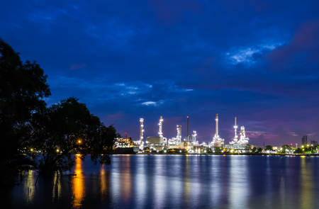 oil refinery plant at dawn in Bangkok, Thailand