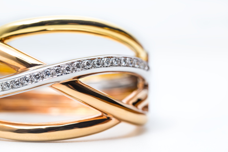 part of modern design gold bangle with diamond on white background Stock Photo