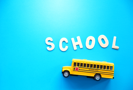 cute background for school bus  Stock Photo