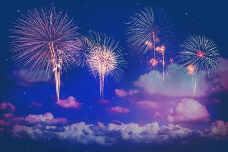 colorful fireworks on night sky background Stockfoto