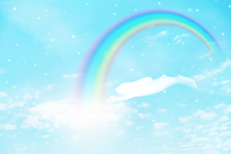 texture of cloud and rainbow with jumping rabbit on blue sky Standard-Bild - 116415907