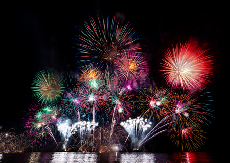 colorful fireworks from the sea at Pattaya, Thailand