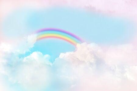 texture of cloud with rainbow on blue sky 版權商用圖片