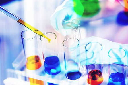 laboratory research and development concept with lab glassware