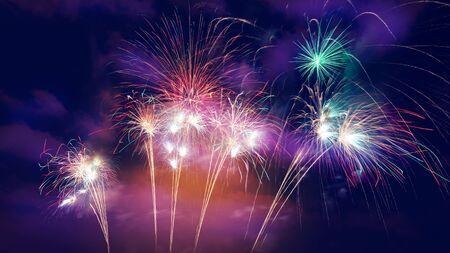colorful fireworks on beautiful night sky