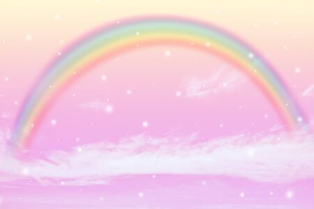 texture of cloud with rainbow and snow on pink sky