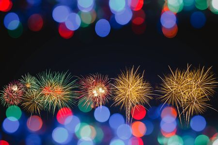 colorful fireworks with colorful bokeh background, celebration concept