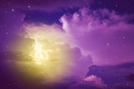 fantasy colorful night sky with cloud and stars