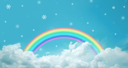 texture of cloud with rainbow and snowflakes on blue sky