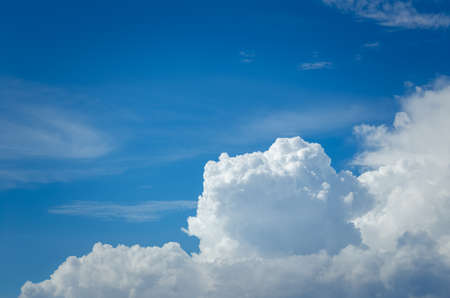 closeup bright cloud on blue sky