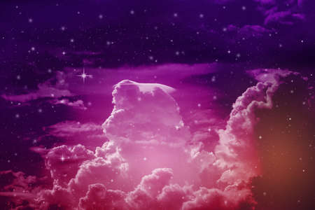 colorful night sky with cloud and stars, light blue tone
