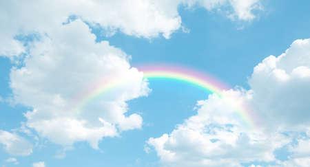 texture of cloud with rainbow on blue sky 免版税图像