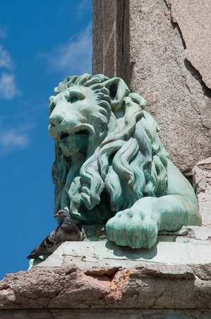 laurent: Lion sculpture by Antoine Laurent Dantan, Place de la Republique, Arles, France