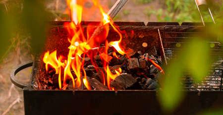 烧烤搭配开火和煤炭。烧烤夏季派对