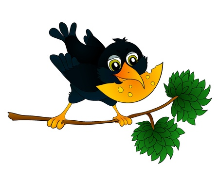fighting styles: Raven on a branch with cheese in its beak, with isolation on a white background Illustration
