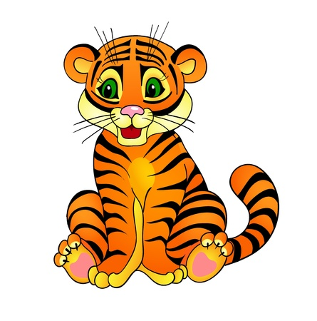 undomesticated animals: tiger cartoon , with isolation on a white background