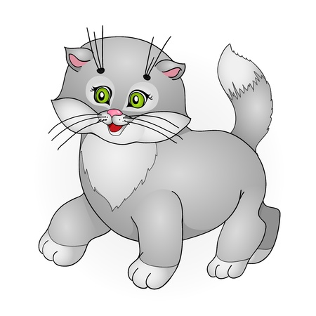 grey cat: cartoon cat, with isolation on a white background Illustration