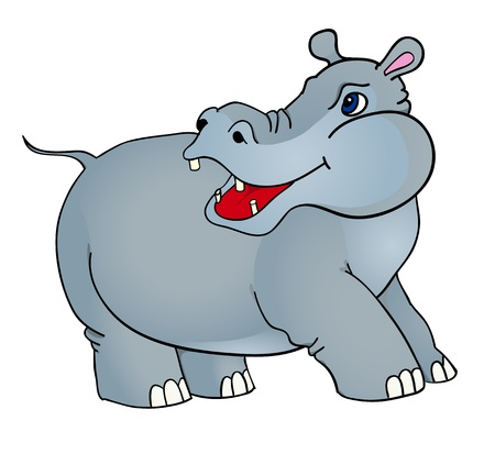 cartoon hippopotamus, with isolation on a white background Vector