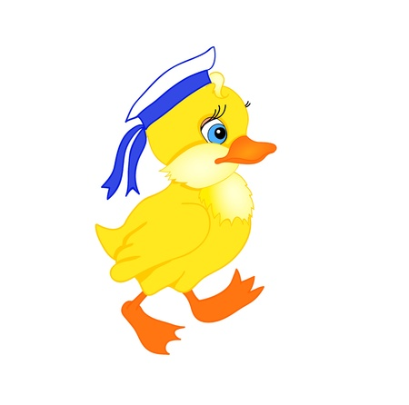 yellow duck: little duckling cartoon with isolation on a white background Illustration